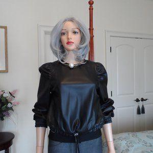 New Zara Black Faux Leather Crop Top Size XS